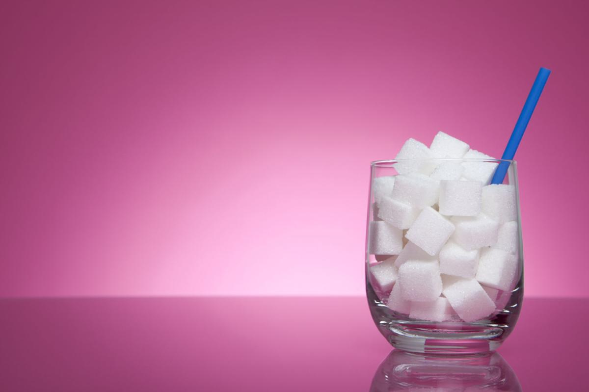 sugar cubes in a glass to explain don't drink calories.