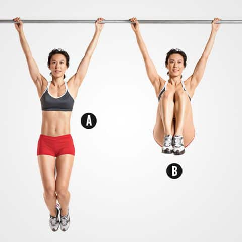 woman doing hanging ab curls