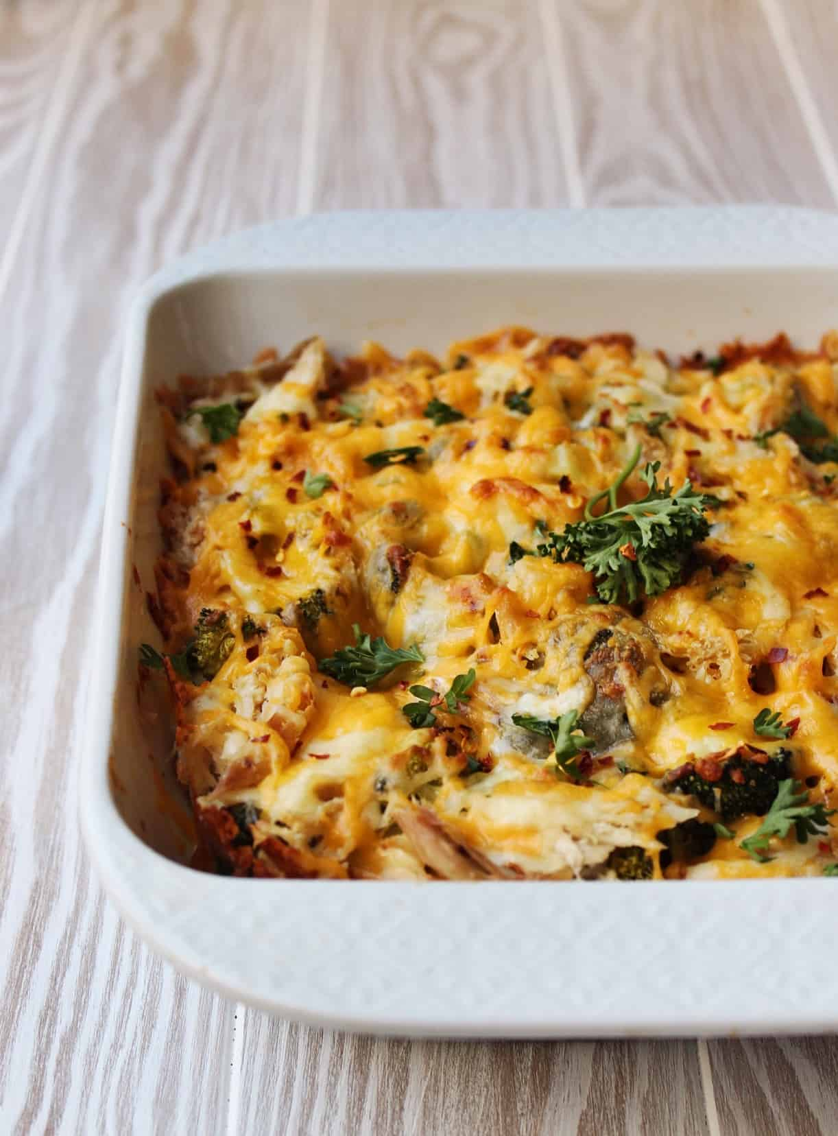 Keto Broccoli Cheese and Chicken Casserole ready in just 30 minutes , a quick and easy dinner recipe.