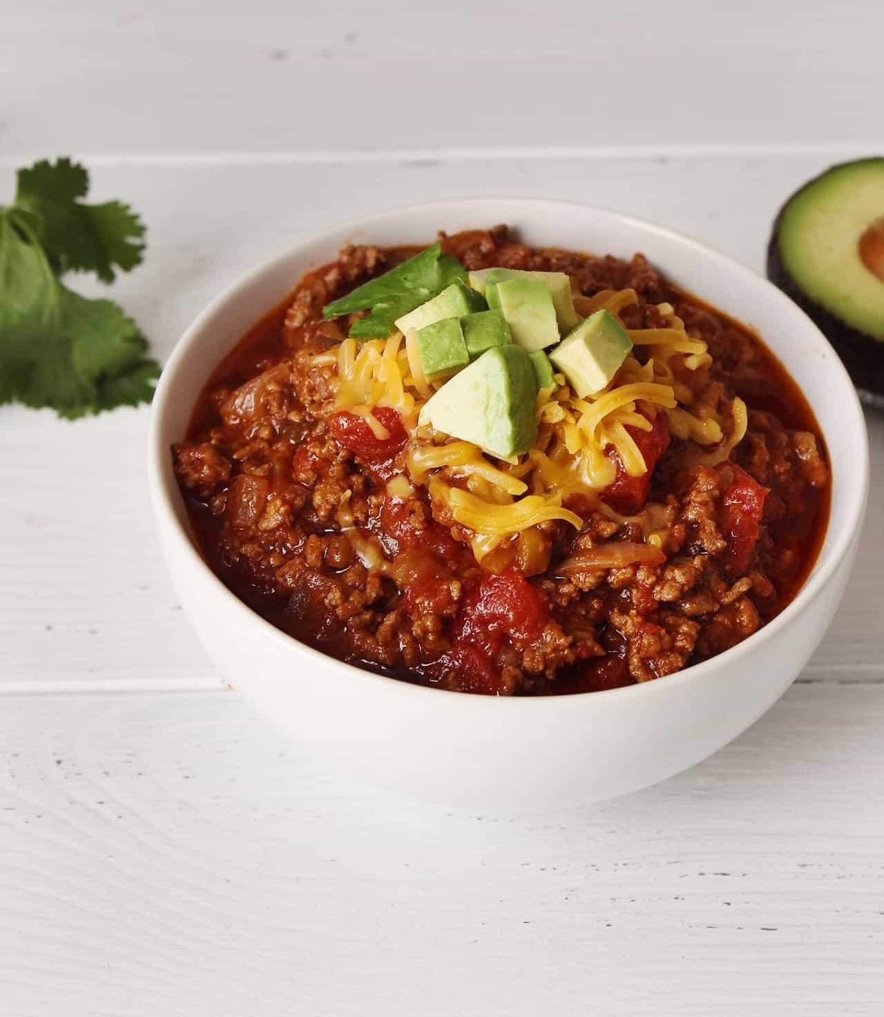 Keto Crockpot Chili -Low Carb Beef Chili