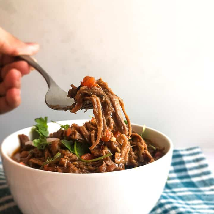 mexican shredded beef on fork