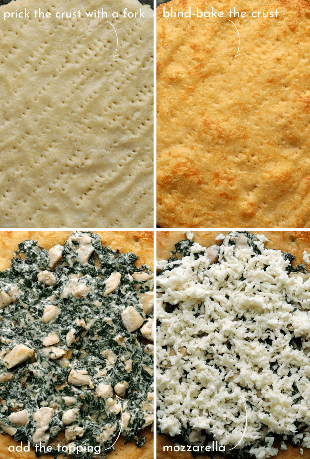 low-carb-chicken-spinach-cream-cheese-pizza-assembly-procedure-collage