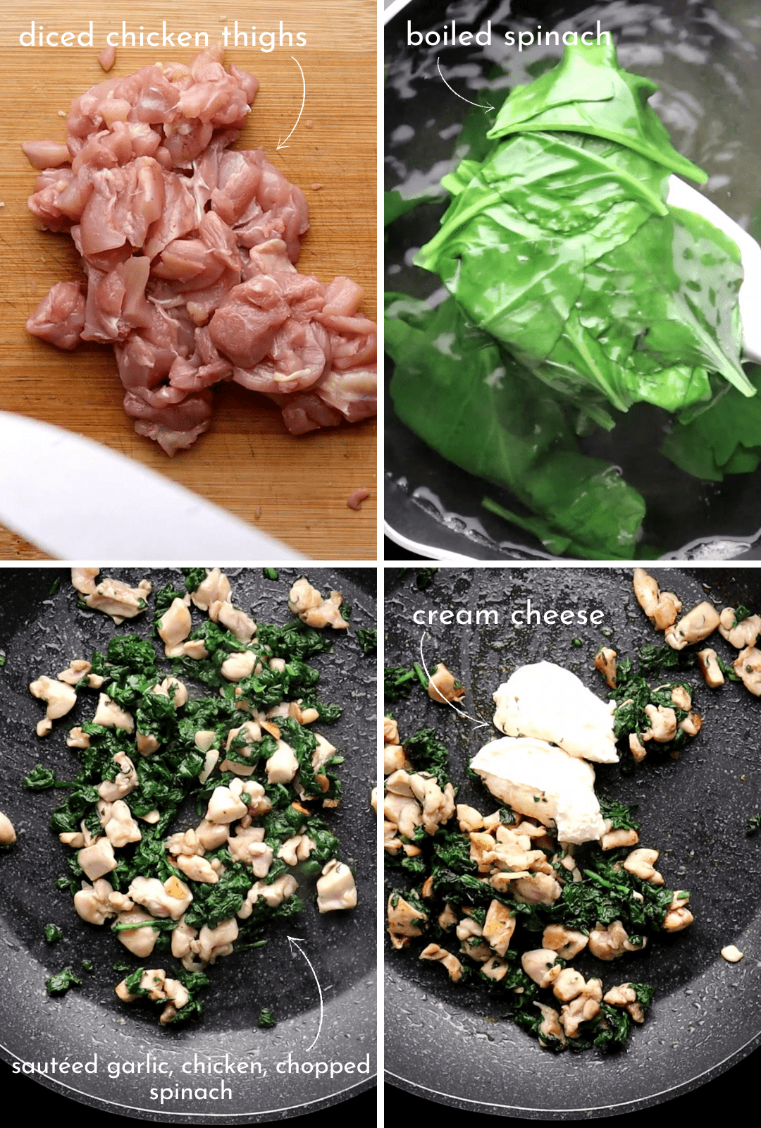 low-carb-chicken-spinach-cream-cheese-pizza-topping-procedure-collage